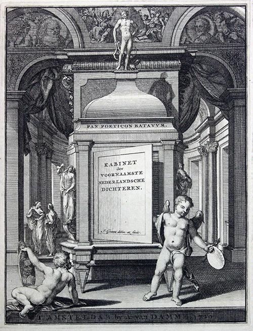 Titelplaat van het Panpoëticon Batavûm (1720) van Lambert Bidloo. Gravure door Jan Goeree.