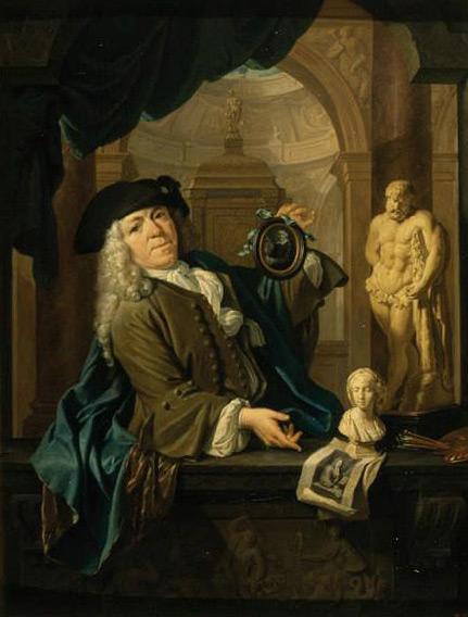 Arnoud van Halen, oprichter van het Panpoëticon, met het portret van Vondel, door christoffel lubieniecki, ca. 1725 (Pushkin Museum).