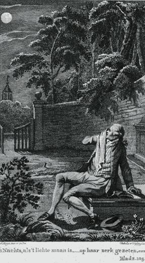 Eduard op de grafzerk van Julia, uit: Julia (1783)