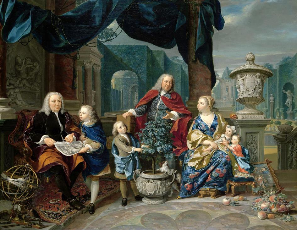 David van Mollem (links) en zijn familie, door Nicolaas Verkolje, 1740. (Rijksmuseum)