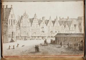 Gezicht op de Grote Markt in Haarlem, door P. Saenredam, 1629 (KB Den Haag)