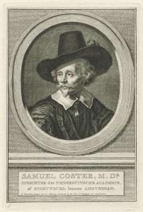 Portret van Samuel Coster, door Jacobus Houbraken, 1708-1780 (Rijksmuseum)