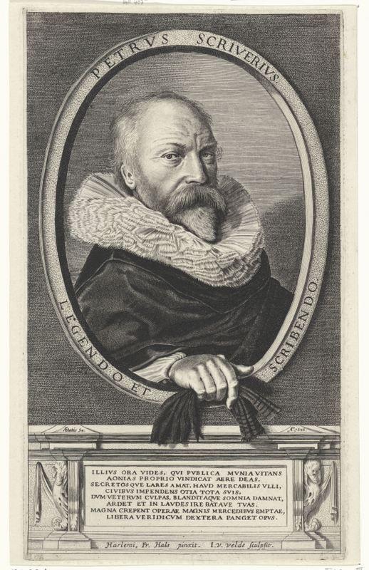 Portret van Petrus Scriverius naar Frans Hals, door J. van de Velde, ca. 1627 (Rijksmuseum)