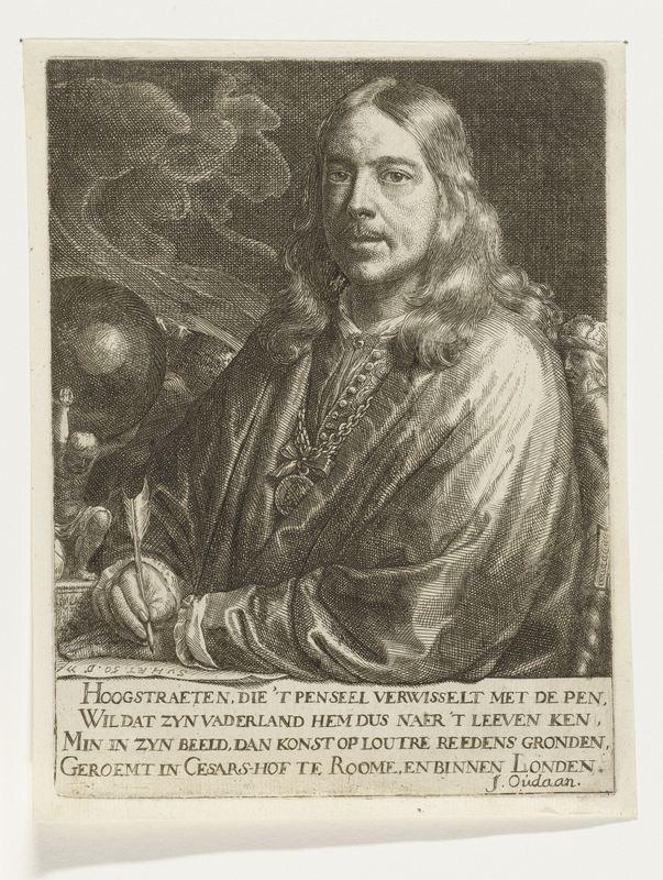 Zelfportret, door Samuel van Hoogstraten, 1677 (Rijksmuseum)