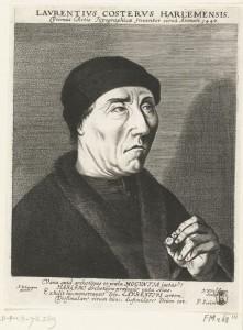 Portret van Laurens Jansz. Coster, door J. van de Velde, 1626-1628 (Rijksmuseum)