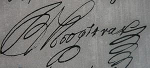 Handtekening van Jan van Hoogstraten