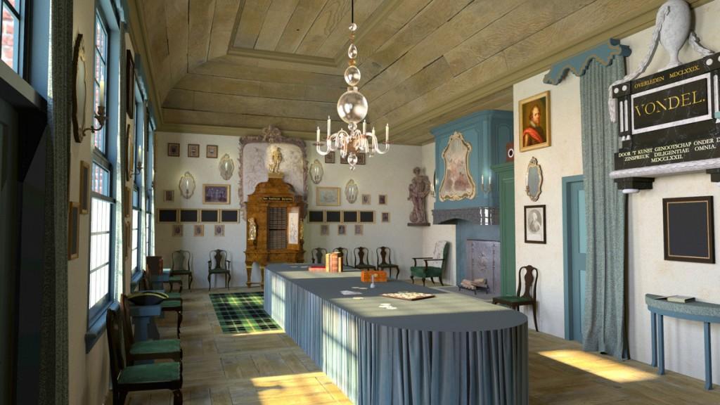 Digitale reconstructie van de vergaderzaal van Kunst Wordt door Arbeid verkreegen (Lieke van Deinsen & Timothy De Paepe)