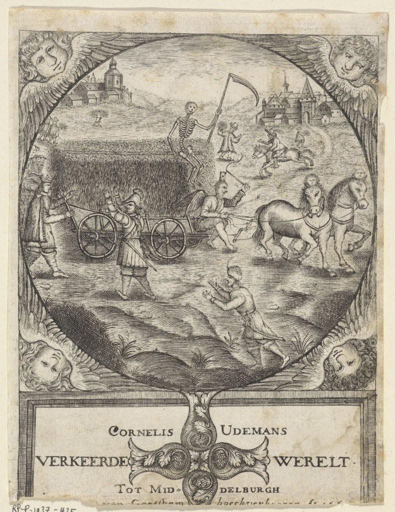 Hooiwagen bestuurd door Vader Tijd en de Dood, frontispies van Cornelis Udemans, Af-beelding van de verkeerde werelt (1660) (Rijksmuseum)