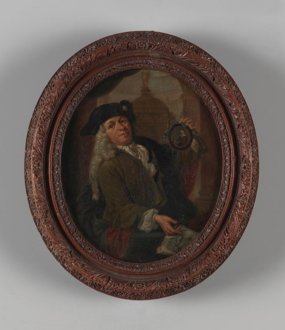 Portret van Arnoud van Halen, naar Christoffel Lubienietski, door Arnoud van Halen (ca. 1725). Rijksmuseum.